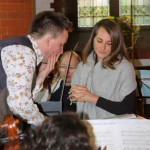 Tom Hammond (left) and soprano Dima Bawab at rehearsal in St SAviour's Church