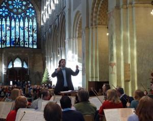 Bjorn Bantock rehearsing SASO in the Abbey.